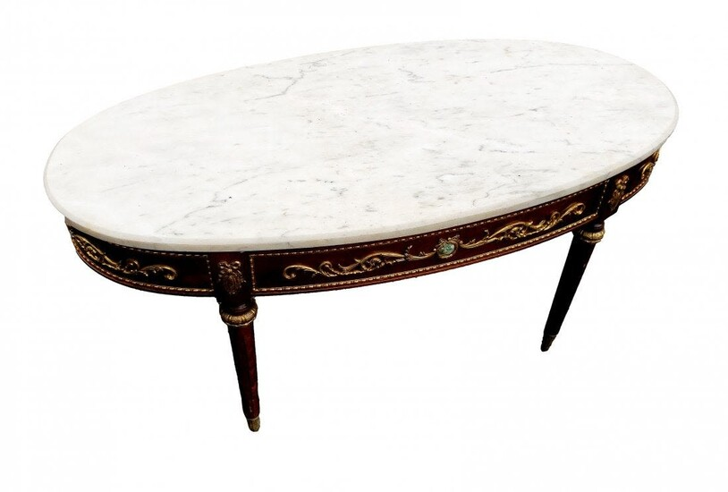 Marble Top Victorian Table with Portraits, Gilding