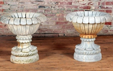 PAIR MELON FORM TWO PART CARVED MARBLE GARDEN URNS