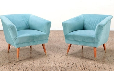 PAIR UPHOLSTERED LOUNGE CHAIRS CIRCA 1950
