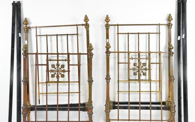 Pair Brass / Iron Beds with Rails