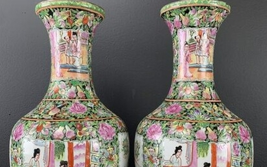 Pair Of Chinese Famille Noire Figural Vases