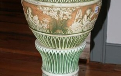 Pottery Jardiniere with Matching Pedestal