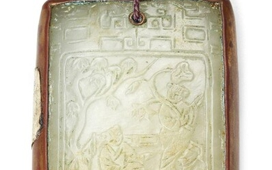 Property of a Gentleman (lots 36-85) A Chinese pale green jade rectangular pendant plaque, Qing dynasty, finely carved in low relief to one side with two boys in a fenced garden beneath an archaistic dragon border and with a poem to the reverse...
