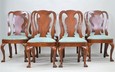 SET OF 12 QUEEN ANNE STYLE MAHOGANY DINING CHAIRS