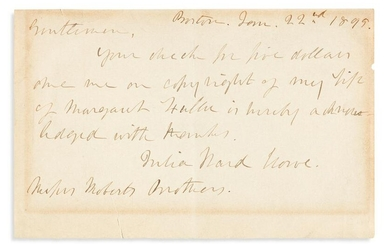 (SUFFRAGISTS.) Two Autograph Letters Signed: Julia Ward
