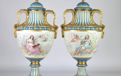 Sevres pair of monumental vases mounted on gilded