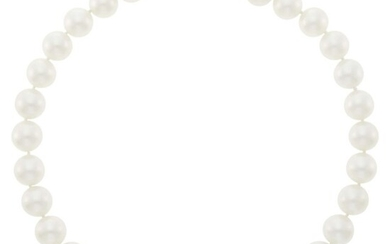 South Sea Cultured Pearl Necklace with White Gold Ball Clasp