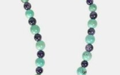 Sterling, Turquoise, & Amethyst Necklace, Signed
