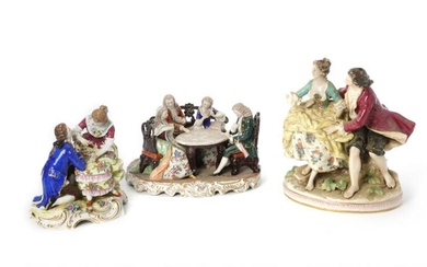 NOT SOLD. Three 20th c. porcelain figure groups decorated in colours, faux Capodimonte a.o. (3) – Bruun Rasmussen Auctioneers of Fine Art
