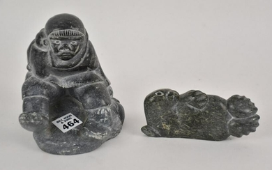 Two Carved Inuit Eskimo Soapstone Sculptures - One of a