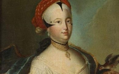 Venetian School, mid/late 18th Century- Portrait of a woman in oriental costume; oil on canvas laid down on board, 38 x 28 cm.