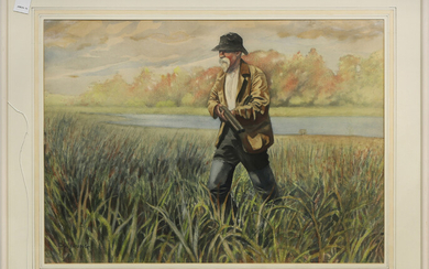 Watercolor, Hunting in the Grass