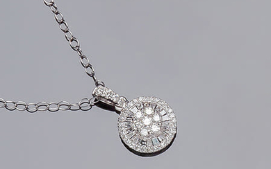 White gold chain and circular pendant, with a rosette...