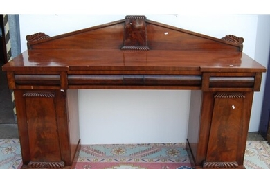 William IV mahogany pedestal sideboard, the back panel with ...