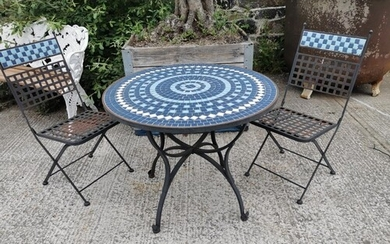 Wrought iron and mosaic three piece garden set - two chairs ...