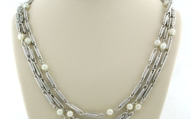 18 kt. Freshwater pearl, White gold - Necklace