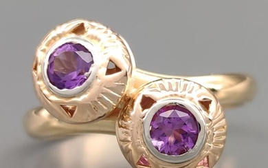 18 kt. White gold, Yellow gold - Ring - 0.50 ct Amethysts