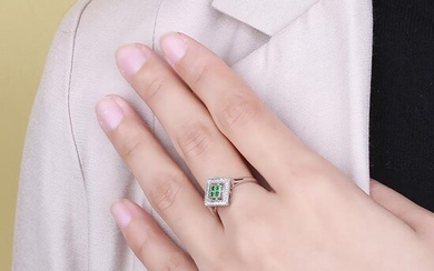 18K White Gold 0.36ct Emerald and Diamond Ring