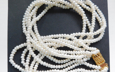 5 STRAND FRESHWATER PEARL TWISTED CHOKER NECKLACE.