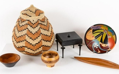 5 Signed Wood Articles and a Zulu Basket
