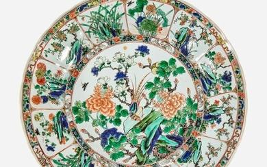 A Chinese famille verte-decorated porcelain lobed dish