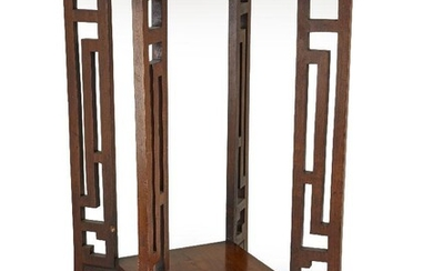 A Chinese wooden two-tier table, 20th century, 70cm. high x 48cm diam. Provenance: Private collection Oliver Hoare (1945-2018)
