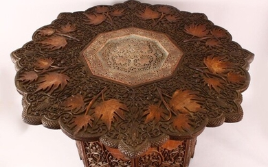 A FINE 19TH CENTURY INDIAN KASHMIRI CARVED WOODEN TABLE - t...