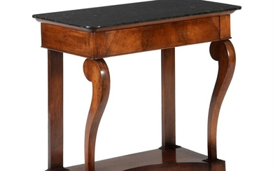 A French Empire walnut marble topped console table