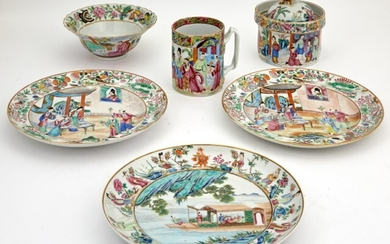 A Group of Chinese Export Famille Rose Porcelain Articles