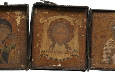 A MINIATURE TRIPTYCH SHOWING ST. NICHOLAS OF MYRA, THE