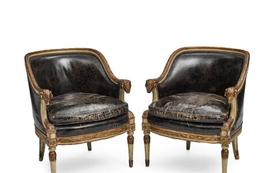 A PAIR OF NEOCLASSICAL PARCEL GILT AND PAINTED WOOD ARMCHAIRS