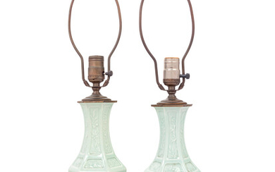A Pair of Celadon Glazed Porcelain Vases Mounted as Lamps