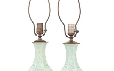 A Pair of Celadon Glazed Porcelain Vases Mounted as