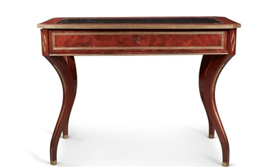 A Russian Neoclassical Brass-Mounted and Inlaid Mahogany Writing Table, 19th Century