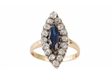 A SAPPHIRE AND DIAMOND NAVETTE CLUSTER RING, mounted in 14ct...