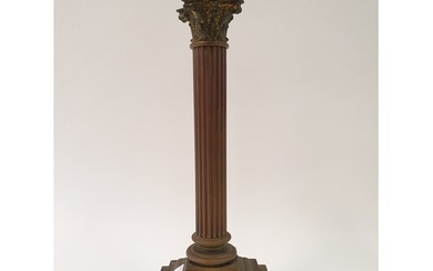 A brass lamp base, in the form of a corinthian column, 47 cm...