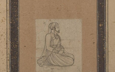 """A fine drawing of a seated nobleman, possibly by Nainsukh (circa 1710-1778), India, circa 1750, pencil and gouache on paper, the bearded kneeling figure with finely drawn robes the reverse with """"No. 83"""" in a 19th century hand, two later pencil..."""