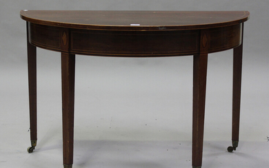 A late George III mahogany demi-lune console table with chequer stringing, on square tapering legs
