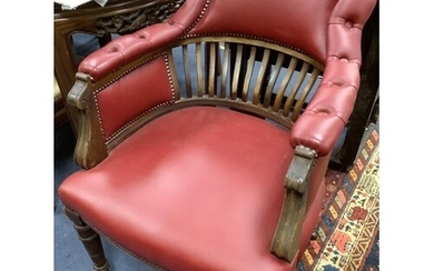 A late Victorian mahogany tub framed library chair, width 62...