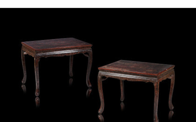 A pair of rectangular lacquered table, mother of pearl inlaid, with cabriole legs (defects and losses) Japan, 19th century (107.5x79.2x75…Read more