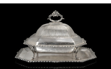 A silver entrée dish with cover and tray. Titled 800 (h. cm 23) (g 2700) (defects)Read more