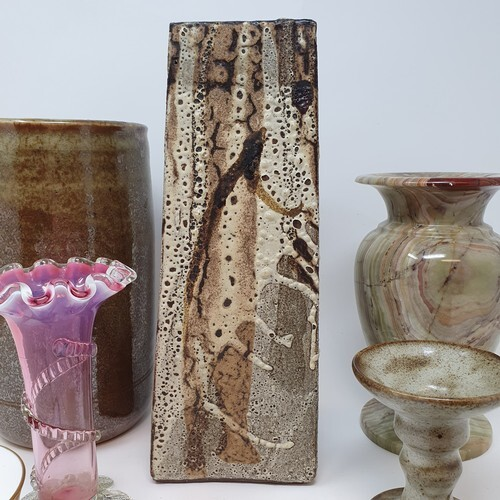 A studio pottery vase, and various other ceramics (2 boxes)