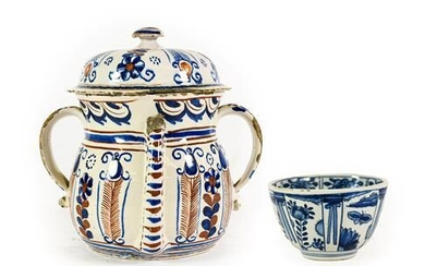 An English Delft Posset Pot and Cover, London or Bristol,...