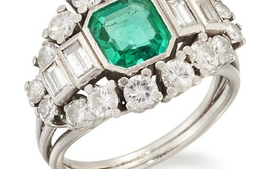 An emerald and diamond ring, the cut-cornered rectangular emerald single stone, measuring approximately 6.95 x 6.40 x 3.62mm, between graduated baguette-cut diamond two stone shoulders to a graduated brilliant-cut diamond surround, ring size K1/2...