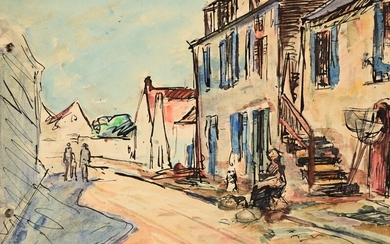 """André FRAYE (c.1887-1963) """"Langonne sur mer"""" watercolour sbg and dated 1917 and """"Maisons de pêcheur"""" unsigned watercolour from the same sketchbook 12x17.5"""