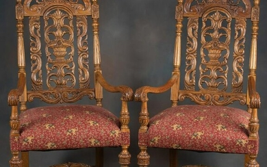 Beautiful matched pair of highly carved antique high