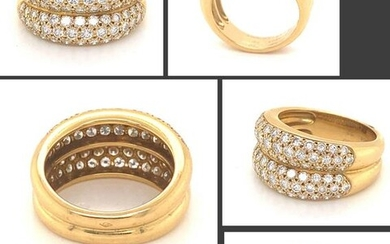 CARTIER 18K GOLD 2.66 Ct PAVE DIAMOND DOUBLE SHANK RING