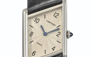 CARTIER. A RARE AND UNUSUAL PLATINUM LIMITED EDITION ASYMMETRICAL WRISTWATCH