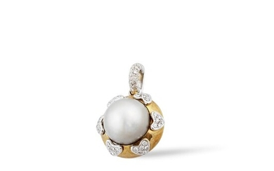 *CULTURED PEARL, DIAMOND AND GOLD PENDANT