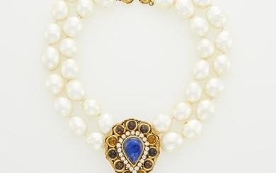 Chanel Double Strand Gilt-Metal, Glass Imitation Pearl, Gripoix and Strass Necklace